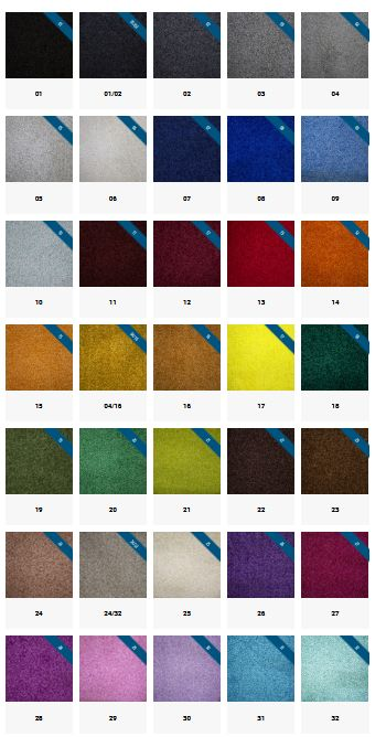 Tapis nylon gamme de couleur